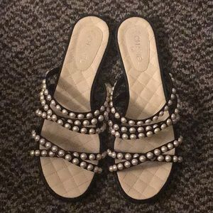 Chanel pearls leather flat mules sandals size 8